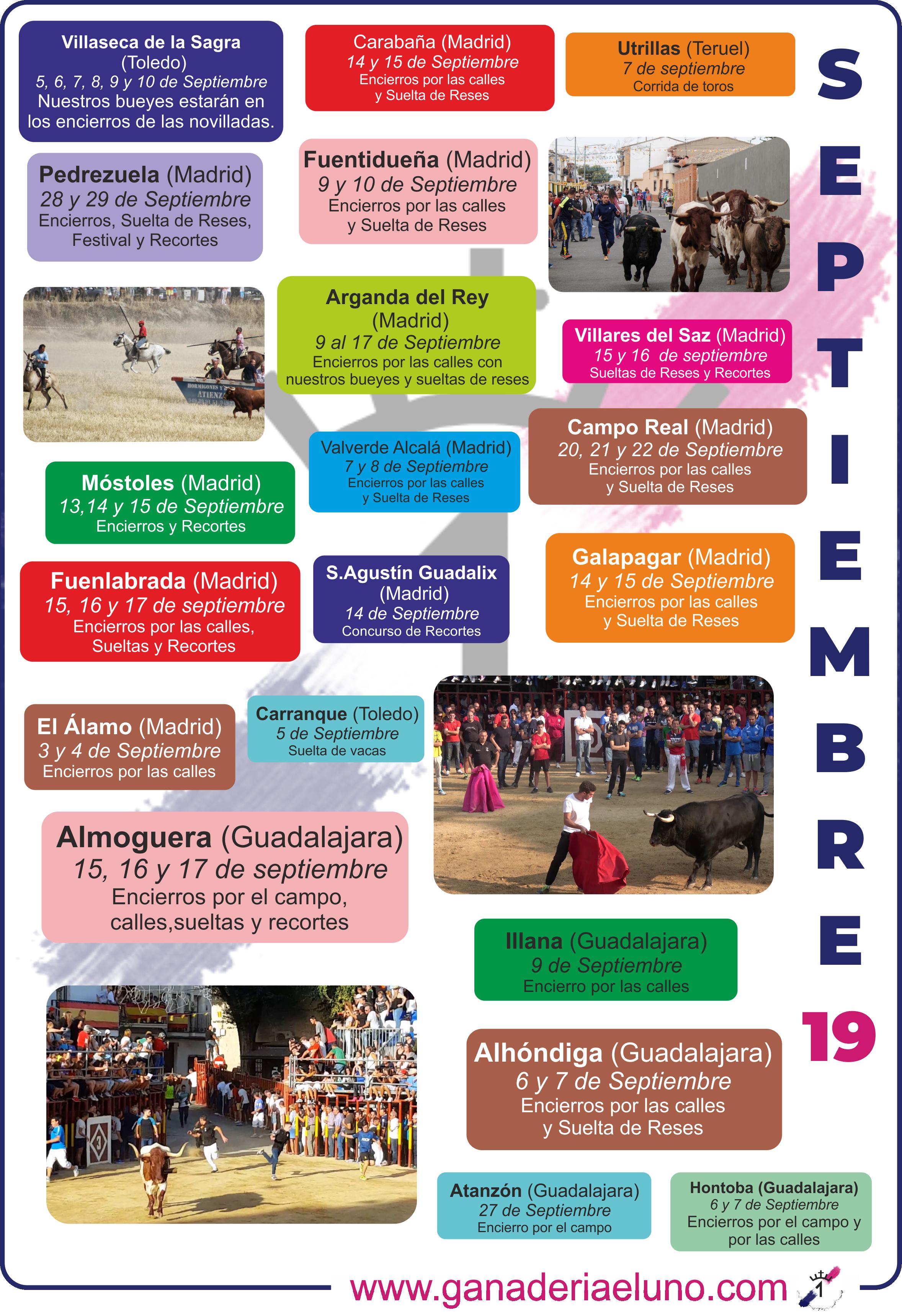Agenda de festejos Septiembre 2019 | Ganaderia El Uno